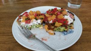 Zucchini Feta Pancakes with Grilled Peach Salsa and sour cream